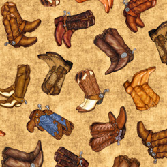 Quilting Treasures Lil' Bit Country 27742-AE COWBOY BOOTS TAN