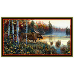Quilting Treasures Moose Country 27746-A MOOSE PANEL BROWN