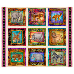 Serengeti Jungle Animal Cream Panel - By QT Fabrics
