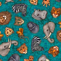 Serengeti ANIMAL HEADS TURQUOISE 27765 Q