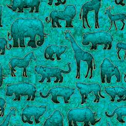 Serengeti Turquoise Animal Silhouettes