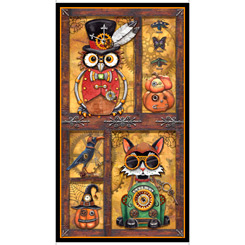 Steampunk Halloween Panel Antique  Gold