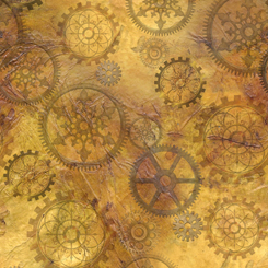 Steampunk Halloween - Halloween Gears, Antique Gold - by Desiree's Designs for QT Fabrics