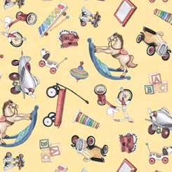 Toys tossed on Chamois; Toyland by QT Fabrics