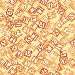 Toy blocks on Yellow; Toyland by QT Fabrics