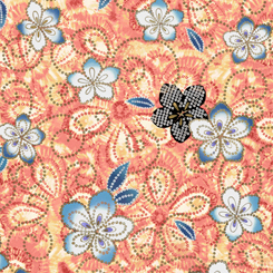Quilting Treasures Akemi Tossed Floral Coral