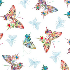 Tossed Butterflies on White:  Daisy Meadow by Turnowsky for Quilting Treasures