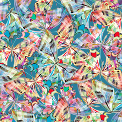 Colorful Packed Butterflies on Dark Aqua:  Daisy Meadow by Turnowsky for Quilting Treasures
