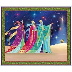 QT Fabrics Christ Is Born Three Kings Panel Navy