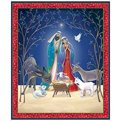 QT Fabrics - Christ Is Born NATIVITY PANEL NAVY 27833-N