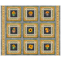 Always Face The Sunshine SUNFLOWER PICTURE PATCHES GRAY 27843 K