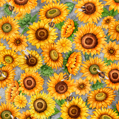 Always Face The Sunshine PACKED SUNFLOWERS GRAY