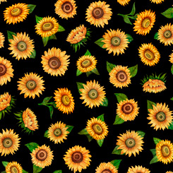 Always Face The Sunshine SMALL TOSSED SUNFLOWERS BLACK