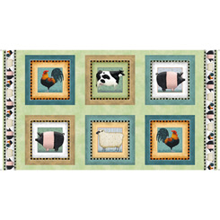 Down on the Farm : 23-1/2 block repeat panel Farm Animal Picture Patches Light Green -#1649-27857-H - Tim Bowers  (411 and  on bolt)