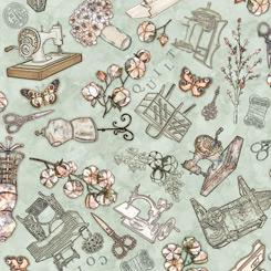 QT Fabrics Cotton Couture SEWING TOSS LIGHT GREEN 27862-H