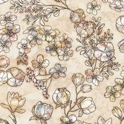 QT Fabrics Cotton Couture FLORAL & COTTON TAUPE 27864-A