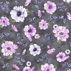 Simone Spaced Floral Charcoal