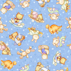 Lullaby Tossed Baby Animals - Blue