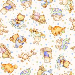 Lullaby TOSSED BABY ANIMALS CREAM