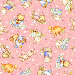 Lullaby TOSSED BABY ANIMALS PINK