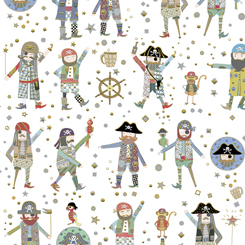 Arrr Mateys Pirates on White Fabric by the Yard