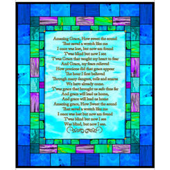 How Sweet The Sound AMAZING GRACE STAINED GLASS PANEL BLUE