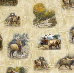 Quilting Treasures Wild Elk 28017-E ELK VIGNETTES CREAM