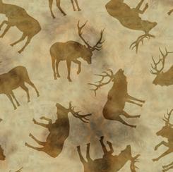QT Wild Elk ELK SILHOUETTES TAN 28018-A