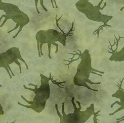 Fabric-QT Wild Elk Elk Silhouettes Green