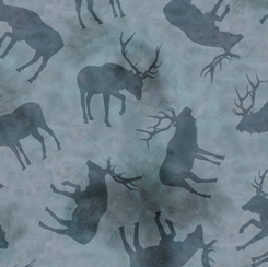 Quilting Treasures Wild Elk 28018-W ELK SILHOUETTES CHAMBRAY
