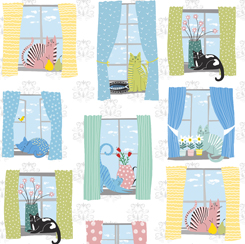 QT - Whiskers CATS IN WINDOWS/WHITE - 28020-Z