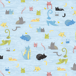 Whiskers Cats in Blinds Blue