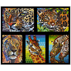 Glass Menagerie MOSAIC ANIMALS PICTURE PATCHES BLACK Panel