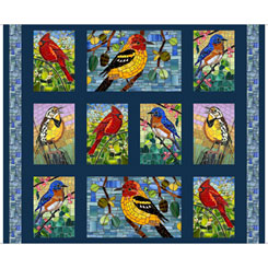Glass Menagerie MOSAIC BIRDS PICTURE PATCHES NAVY  Panel