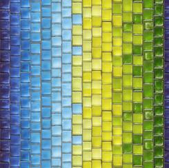 Glass Menagerie - Blue/Green Tile Stripe