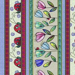 Quilting Treasures Painterly Garden Ladybug Stripe Multi