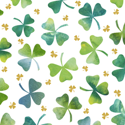 Irish Charm by Marnie Long for QT Fabrics SHAMROCKS WHITE 28048-Z