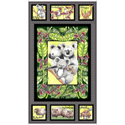 Kiwis and Koalas Children's Fabric Panel 24 x 44