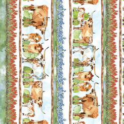 Convenience Cut 1 yd Texas Longhorn Decorative Stripe Multi CC1YD28076 X