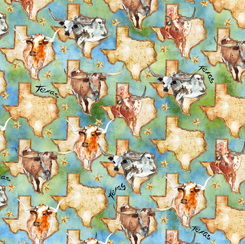 Convenience Cut 1 yd Longhorns Texas Map & Longhorns Green CC1YD28077 G