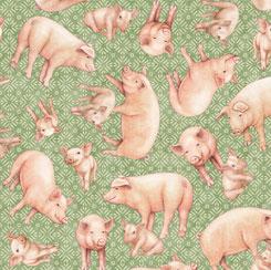 QT Fabrics Greener Pastures PIGS GREEN