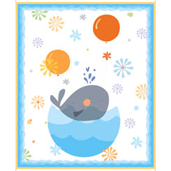 28098-Z Whale Of A Time WHALES PANEL WHITE