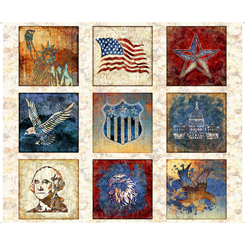 Liberty, Glory, Freedom Patriotic Blocks Cream
