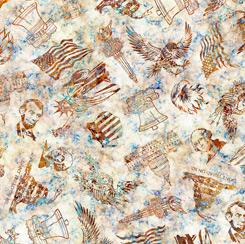 Liberty, glory, freedom - Cream Patriotic Toss by QT Fabrics