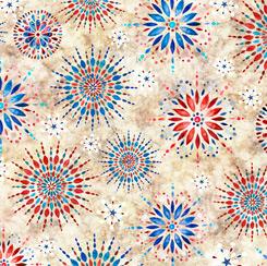 QT Fabrics - Liberty, Glory & Freedom - Medallion Burst - 1649 28146 E - Cream