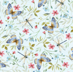 BUTTERFLIES & WILDFLOWERS LIGHT BLUE 28148-B