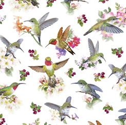 Hummingbird Garden HUMMINGBIRDS WHITE