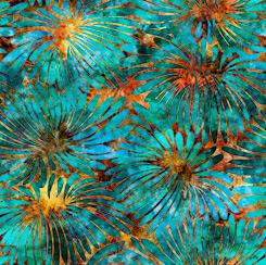 Tropicalia Large Floral Orange/Turquoise 28188-OQ