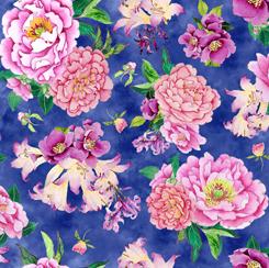 Porcelain Blossoms LARGE FLORAL TOSS ROYAL 28204 Y