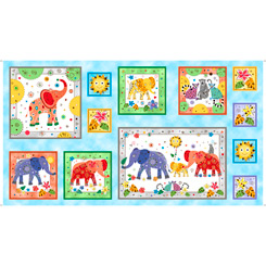 Playful Elephants 24 ELEPHANT PICTURE PATCH PANEL 28215-B
